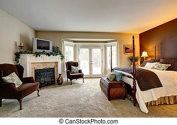 luxe, chambre à coucher, cheminée, walkout, pont