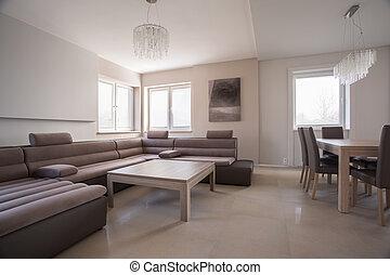 luxe, comfortabel, hoek, sofa