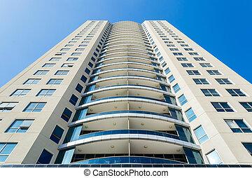 luxe, contre, ciel bleu, moderne, appartement