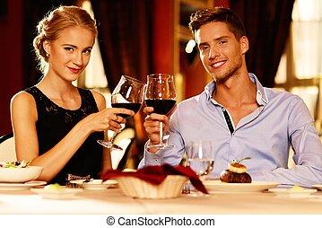 luxe, couple, lunettes, vin, jeune, rouges, restaurant, beau
