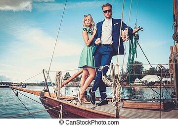 luxe, couple, yacht, riche, élégant