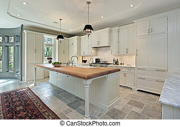 luxe, cuisine, à, blanc, cabinetry