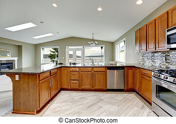 luxe, cuisine, salle, à, clair, brun, cabinets