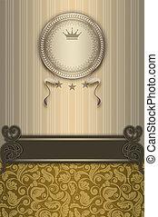 luxe, decoratief, achtergrond, frame., ouderwetse