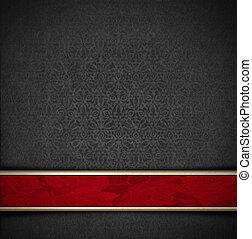 luxe, floral, grijs, en, rood, fluweel, achtergrond
