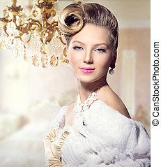 luxe, gestyleerd, beauty, dame, portrait., retro, vrouw