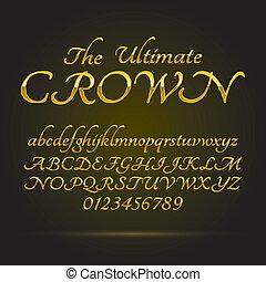 luxe, gouden, lettertype, en, getallen