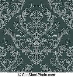 luxe, groene, floral, behang