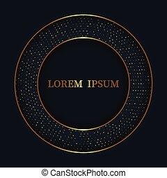 luxe, halftone, cirkel, frame, achtergrond, ornament, goud, donker, glanzend