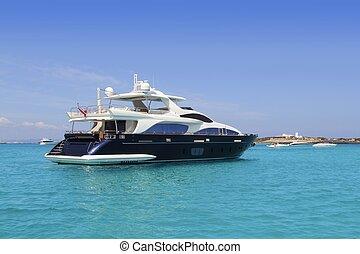 luxe, jacht, in, turkoois, illetes, formentera