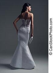luxe, jurkje, foto, bruid, catalogus, form-fitting