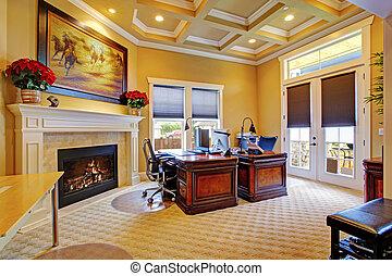 luxe, kantoor, kamer, interieur