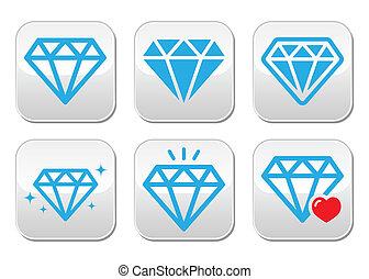 luxe, knopen, diamant, set, vector