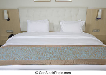 luxe, koning, bed, sized, kamer, hotel