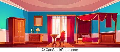 luxe, lit, baldaquin, vieux, intérieur, chambre à coucher