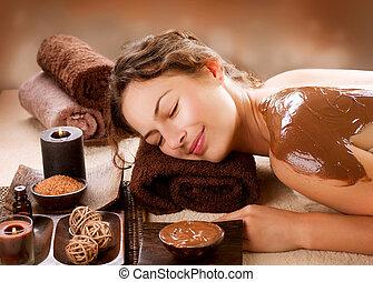 luxe, mask., chocolade, behandeling, spa