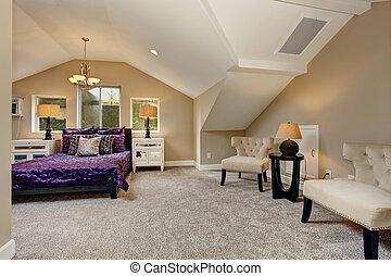 Luxe Paarse Slaapkamer : Paarse luxe slaapkamer deur paarse twee vertolking