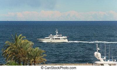 luxe, mer, mâts, ensoleillé, bateau, moteur, temps, par, méditerranéen, horizon, vie, yachts, vue