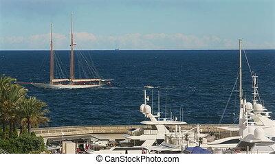 luxe, mer, mâts, ensoleillé, temps, par, méditerranéen, voilier, horizon, vie, yachts, vue