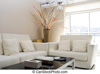 luxe, modern leven, kamer