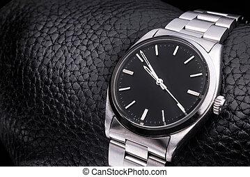 luxe, montre-bracelet, accessory., cuir, arrière-plan., ...