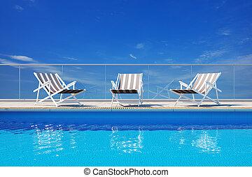 luxe, pool, zwemmen