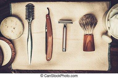 luxe, rasage, fond, bois, accessoires