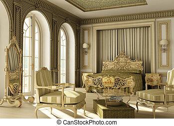luxe, rococo, chambre à coucher