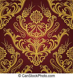 luxe, rood, &, goud, floral, behang
