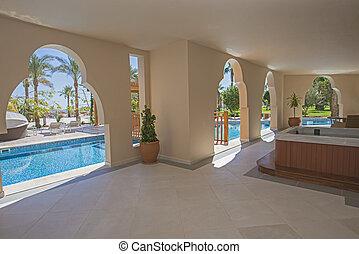 luxe, salle, piscine, terrasse, hôtel, natation, recours
