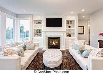 luxe, salle, vivant, maison
