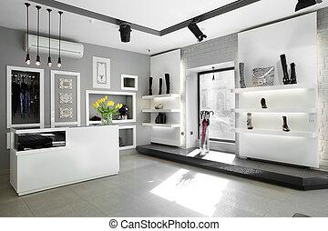 luxe, schoenenwinkel, met, helder, interieur