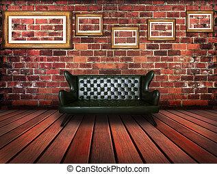 luxe, sofa, cuir, vendange, salle