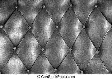 luxe, upholstery, leder, knoop, stoel, textuur, in, zilver