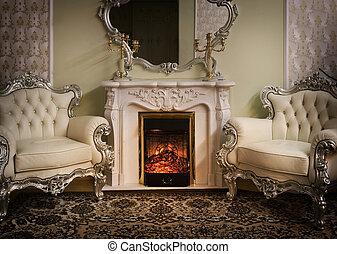 luxe, victoriaans, gestyleerd, interieur