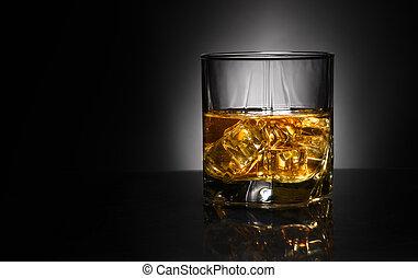 luxe, whisky, vie, verre, encore