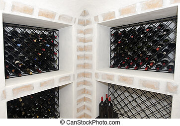 luxe, wijntje, thuis, kelder
