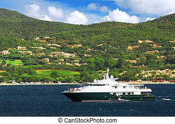 luxe, yacht, à, les, côte, de, côte azur