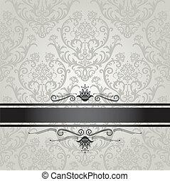 luxe, zilver, floral, behang
