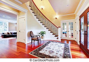 luxehuis, ingang, met, kers, parket, en, staircase.