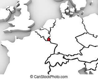 Luxembourg 3d Abstract Map Europe