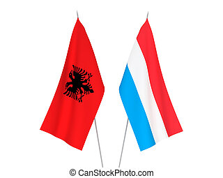 Luxembourg and Albania flags - National fabric flags of ...