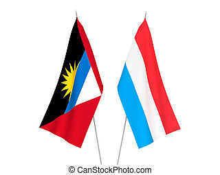Luxembourg and Antigua and Barbuda flags - National fabric ...