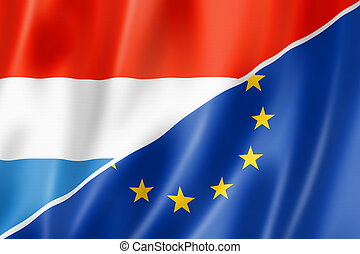 Luxembourg and Europe flag - Mixed Luxembourg and european ...