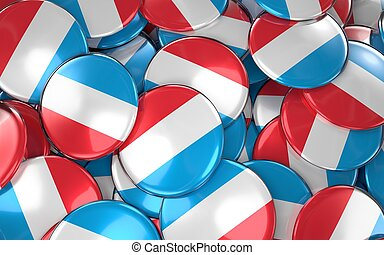 Luxembourg Badges Background - Pile of Luxembourgish Flag ...