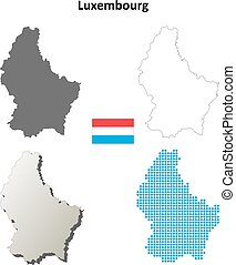 Luxembourg blank outline map set