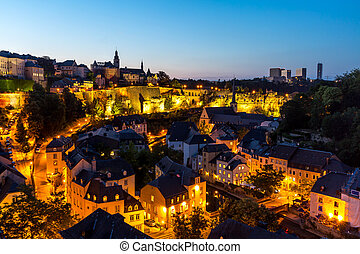 Luxembourg City downtown dusk - scenic view of Luxembourg...