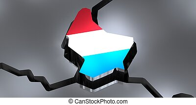 Luxembourg - country borders and flag - 3D illustration