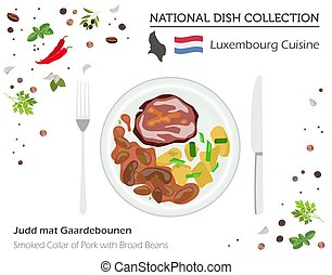Luxembourg Cuisine. European national dish collection. Smoked collar of pork with broad of beans isolated on white, infographic
