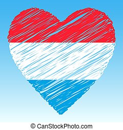 Luxembourg flag, Heart shape, grunge style.